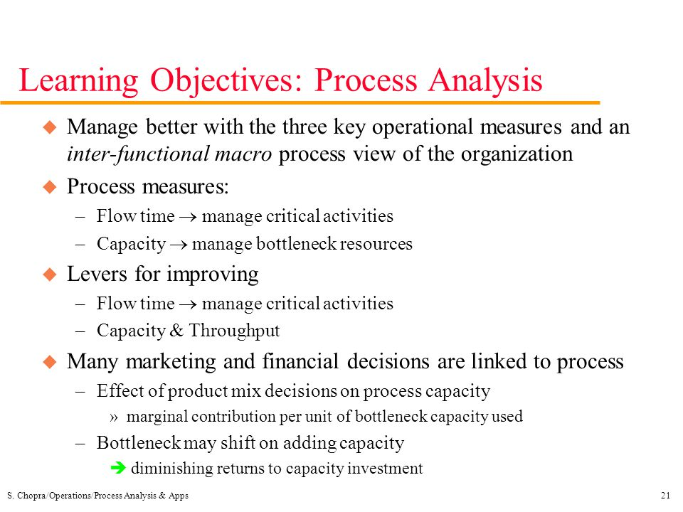 Learning Objectives: Process Analysis