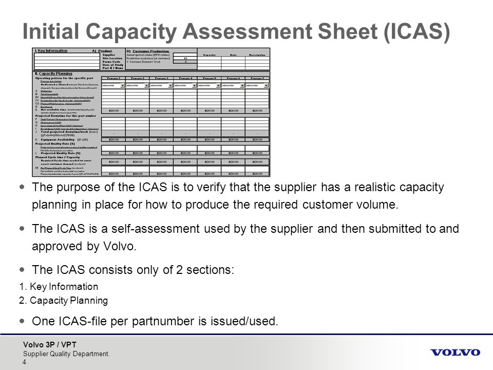 Initial Capacity Assessment Sheet (ICAS)