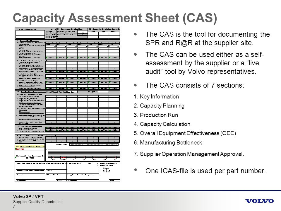 Capacity Assessment Sheet (CAS)