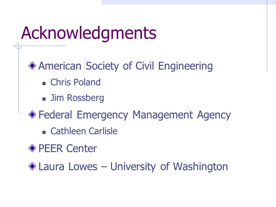 Acknowledgments American Society of Civil Engineering