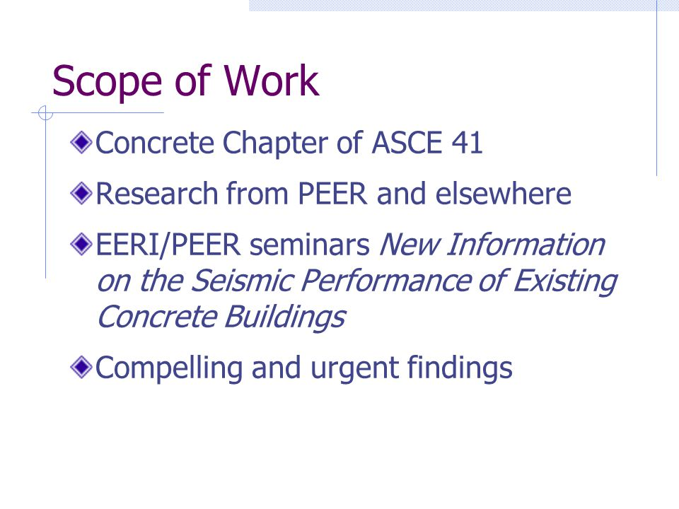 Scope of Work Concrete Chapter of ASCE 41