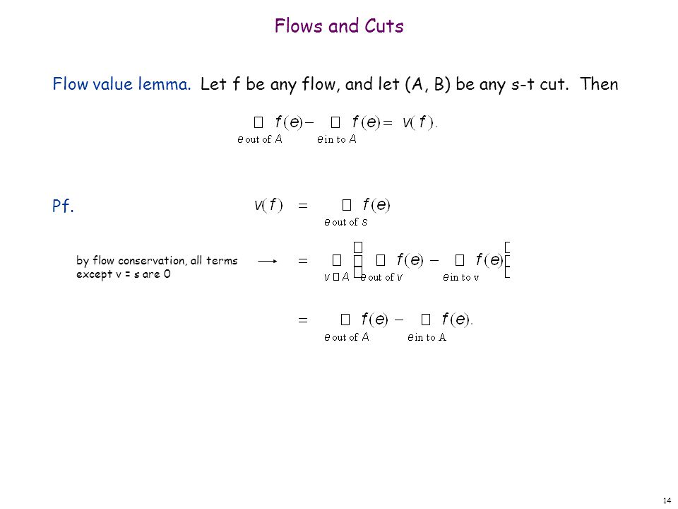 Flows and Cuts Flow value lemma. Let f be any flow, and let (A, B) be any s-t cut.