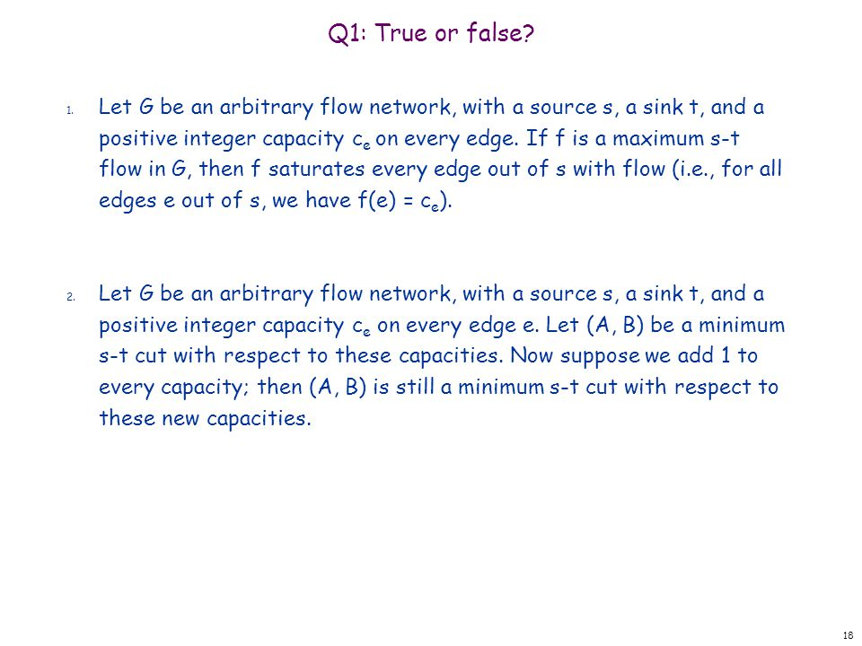 Q1: True or false