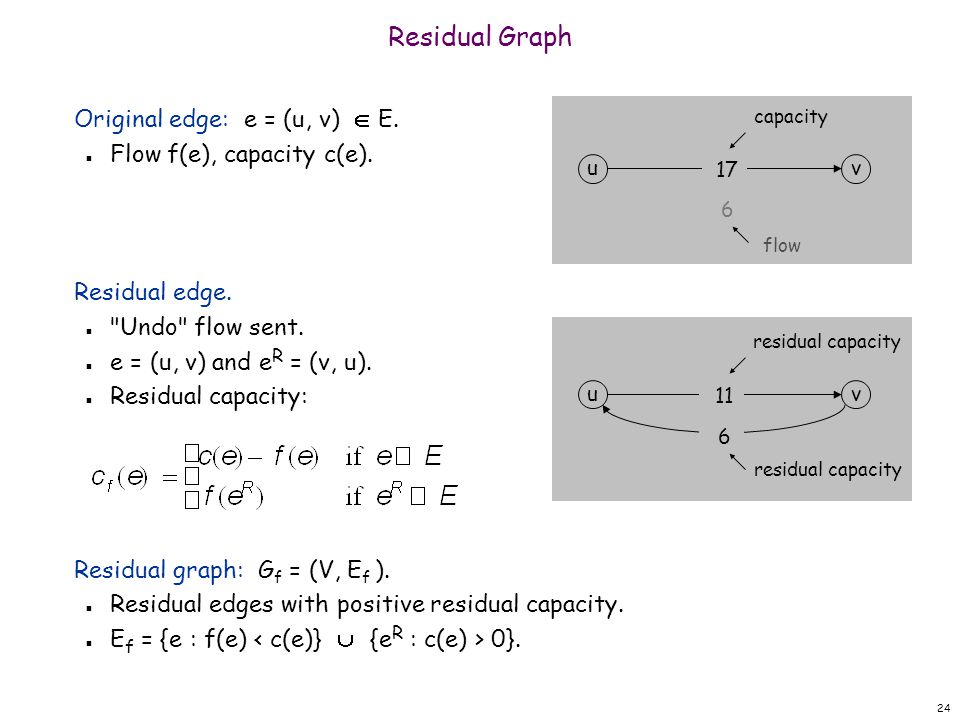 Residual Graph Original edge: e = (u, v)  E.
