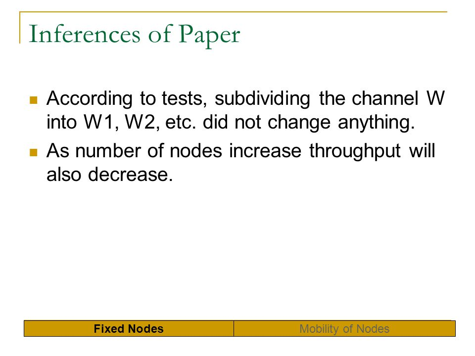 Inferences of Paper According to tests, subdividing the channel W into W1, W2, etc. did not change anything.