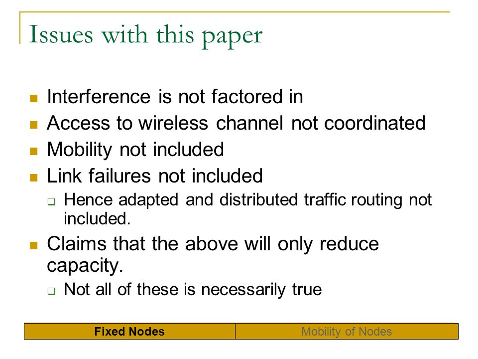 Issues with this paper Interference is not factored in