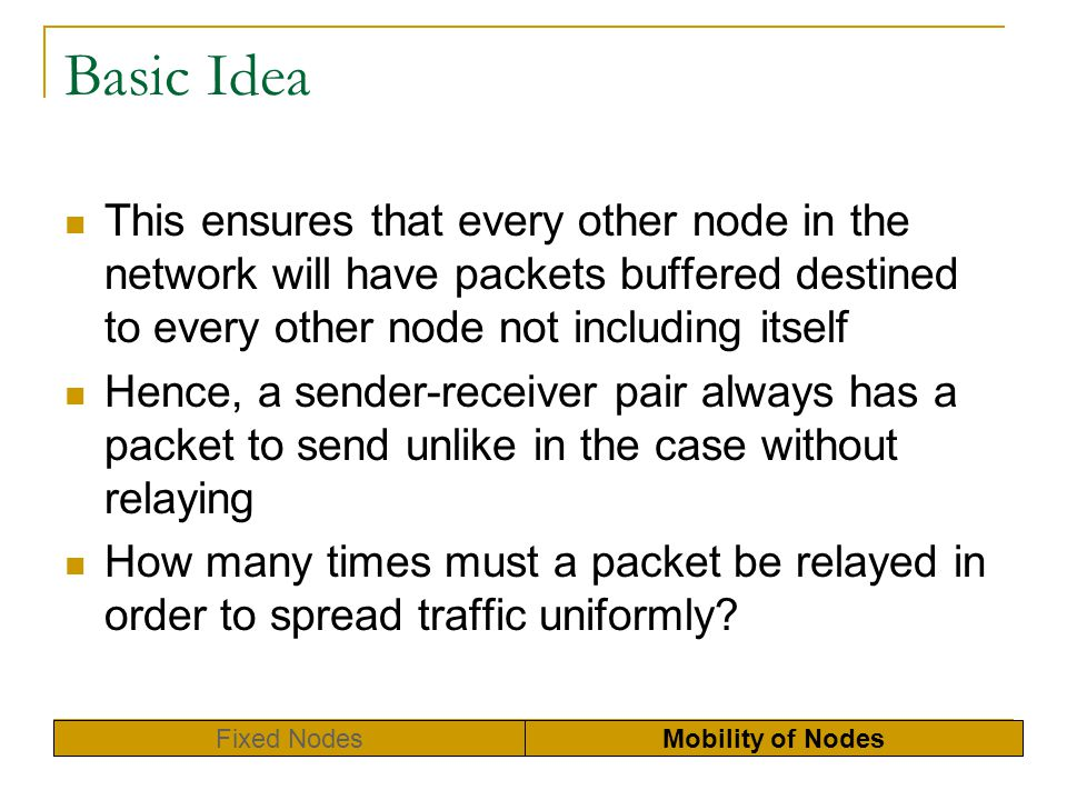 Basic Idea This ensures that every other node in the network will have packets buffered destined to every other node not including itself.