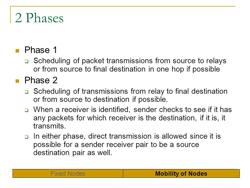 2 Phases Phase 1. Scheduling of packet transmissions from source to relays or from source to final destination in one hop if possible.