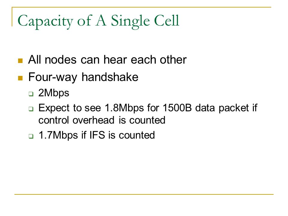 Capacity of A Single Cell