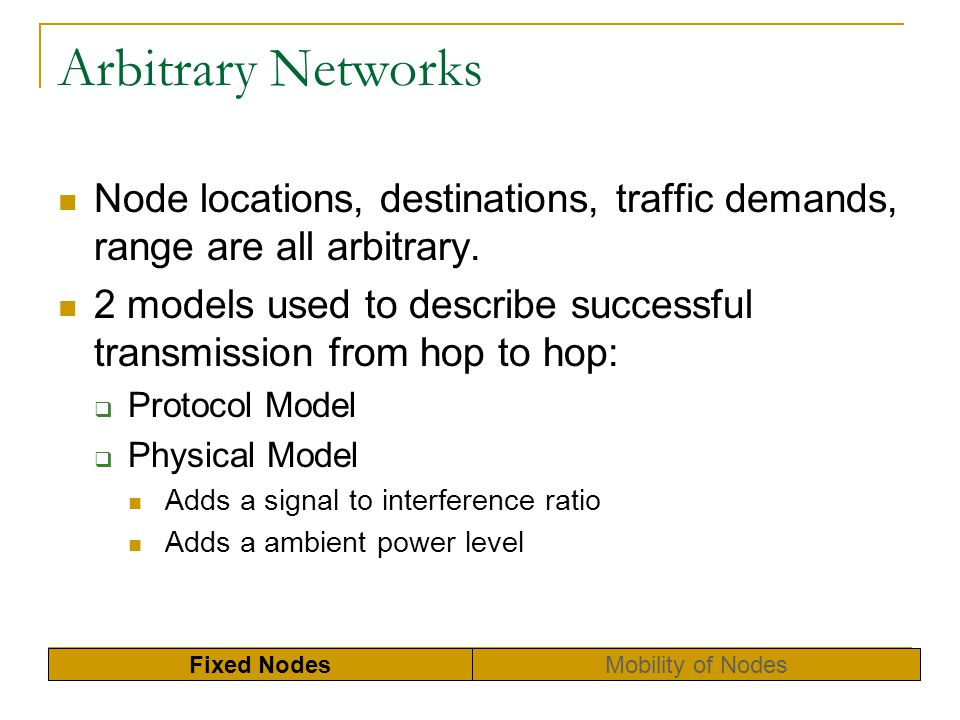 Arbitrary Networks Node locations, destinations, traffic demands, range are all arbitrary.