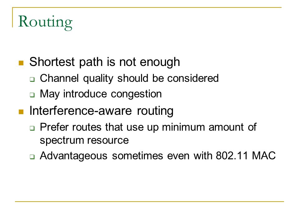 Routing Shortest path is not enough Interference-aware routing