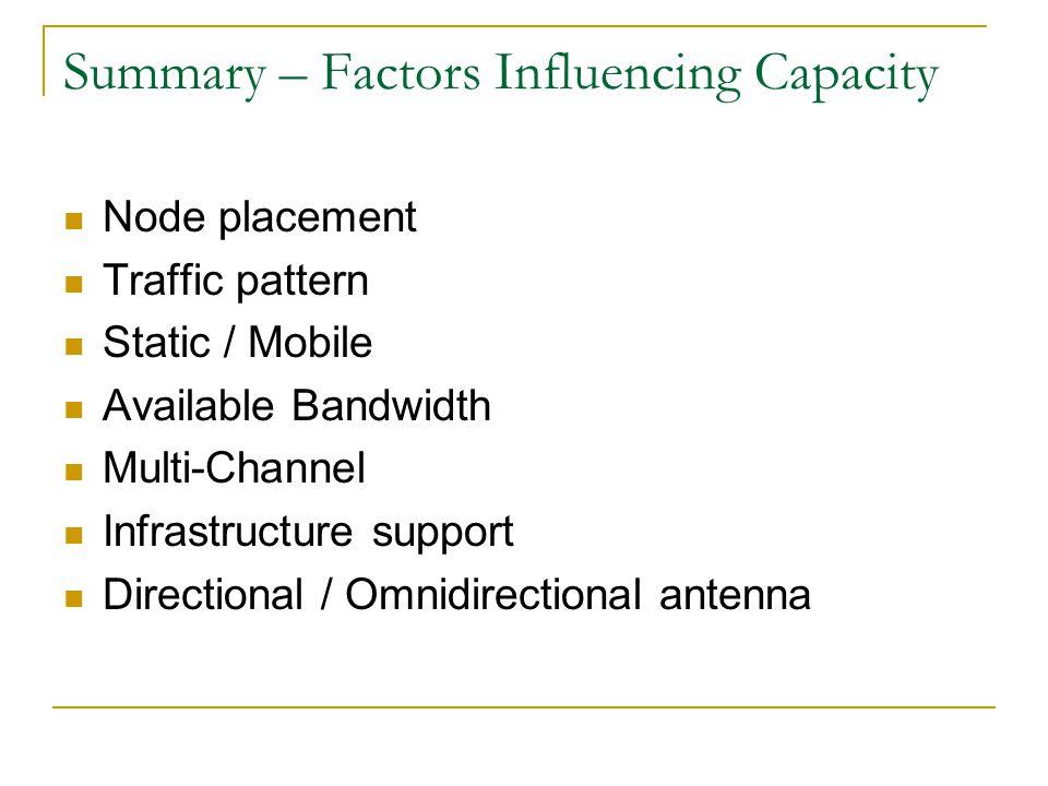 Summary – Factors Influencing Capacity