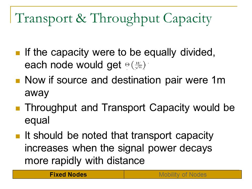 Transport & Throughput Capacity