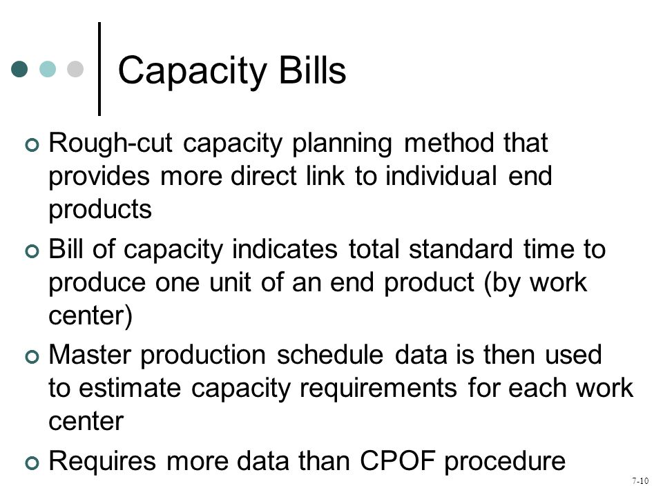 Capacity Bills Rough-cut capacity planning method that provides more direct link to individual end products.