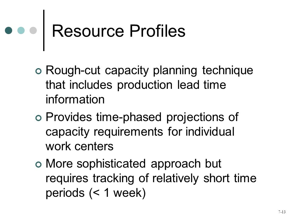 Resource Profiles Rough-cut capacity planning technique that includes production lead time information.