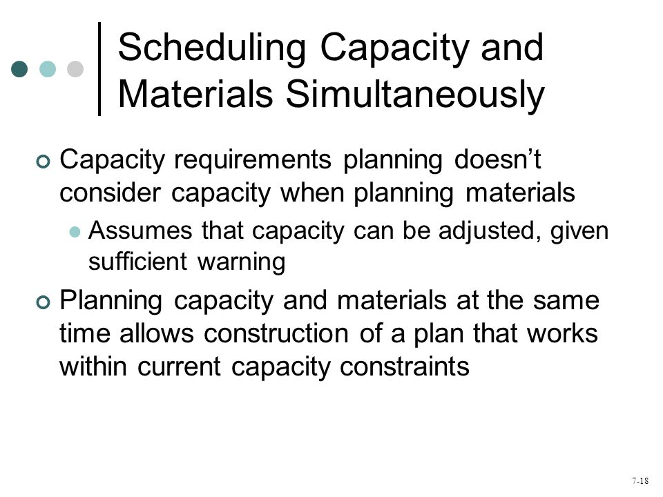 Scheduling Capacity and Materials Simultaneously