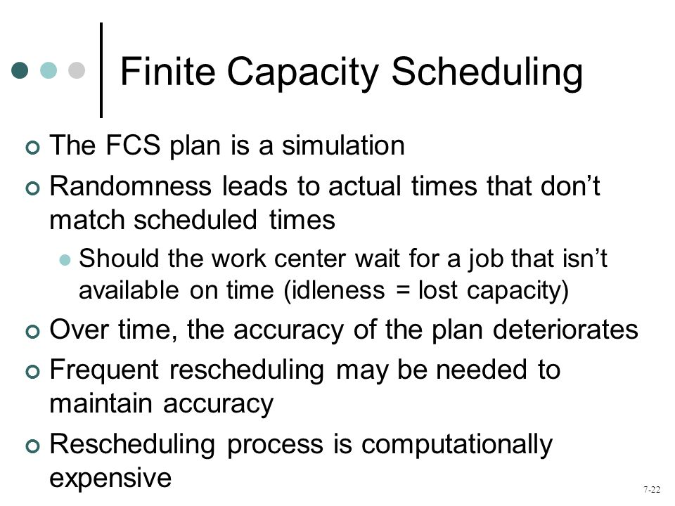 Finite Capacity Scheduling