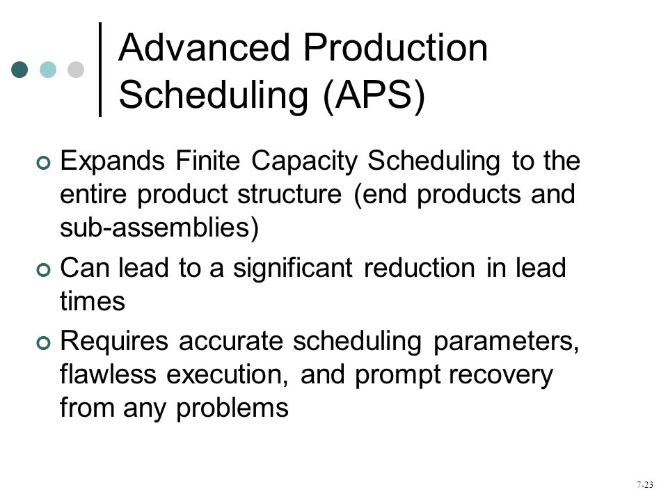 Advanced Production Scheduling (APS)