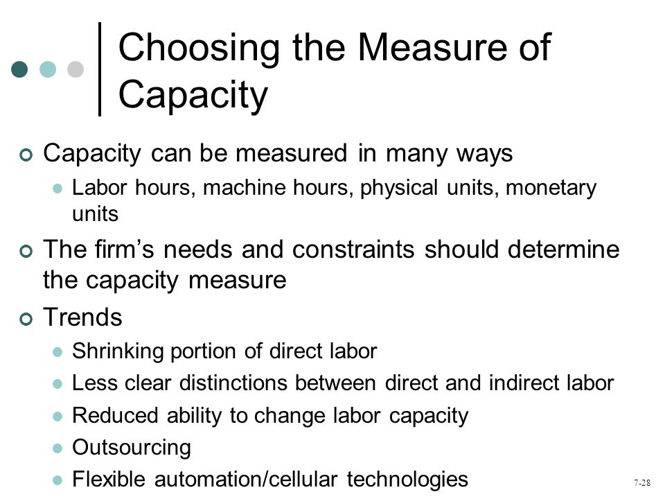 Choosing the Measure of Capacity