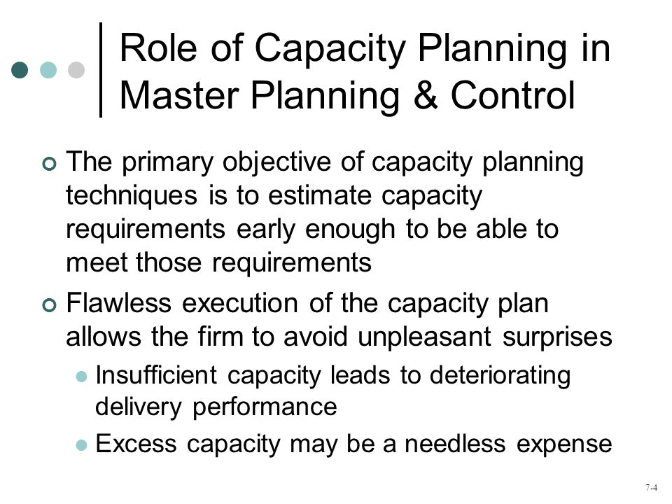 Role of Capacity Planning in Master Planning & Control