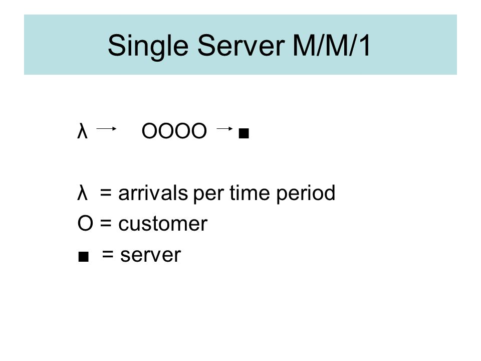 Single Server M/M/1 λ OOOO ■ λ = arrivals per time period O = customer