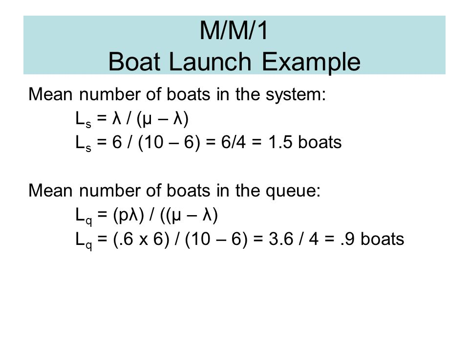 M/M/1 Boat Launch Example