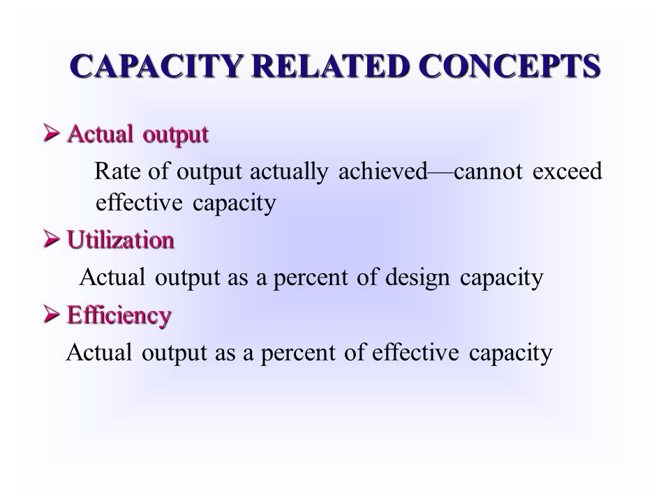 CAPACITY RELATED CONCEPTS