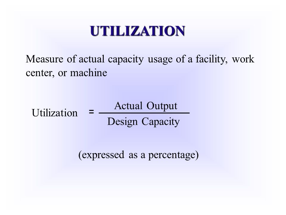 UTILIZATION Measure of actual capacity usage of a facility, work center, or machine. Actual Output.