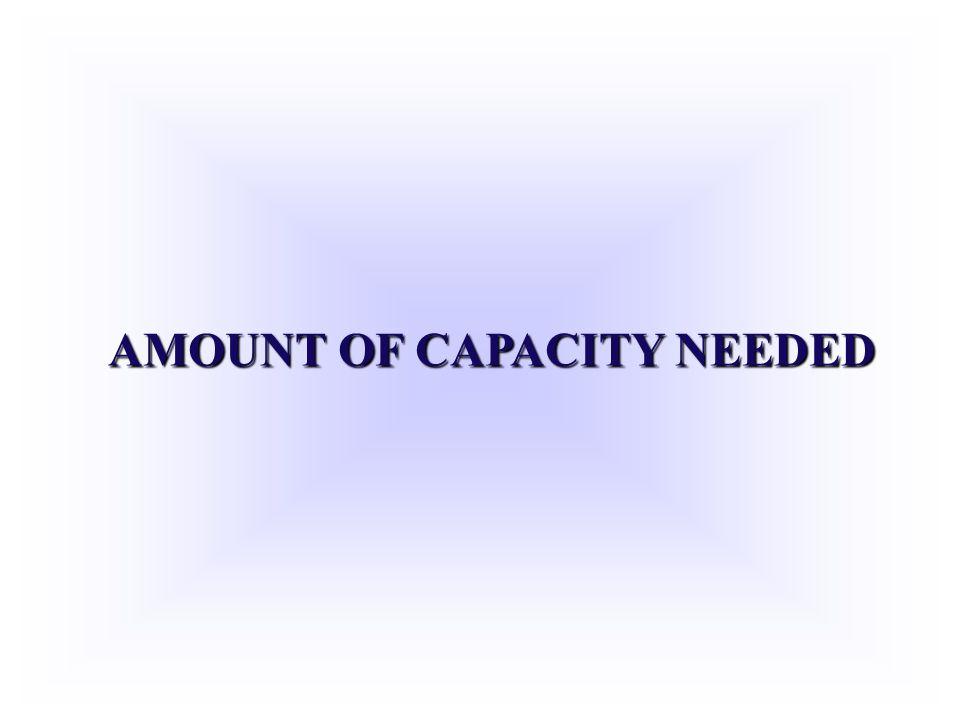 AMOUNT OF CAPACITY NEEDED