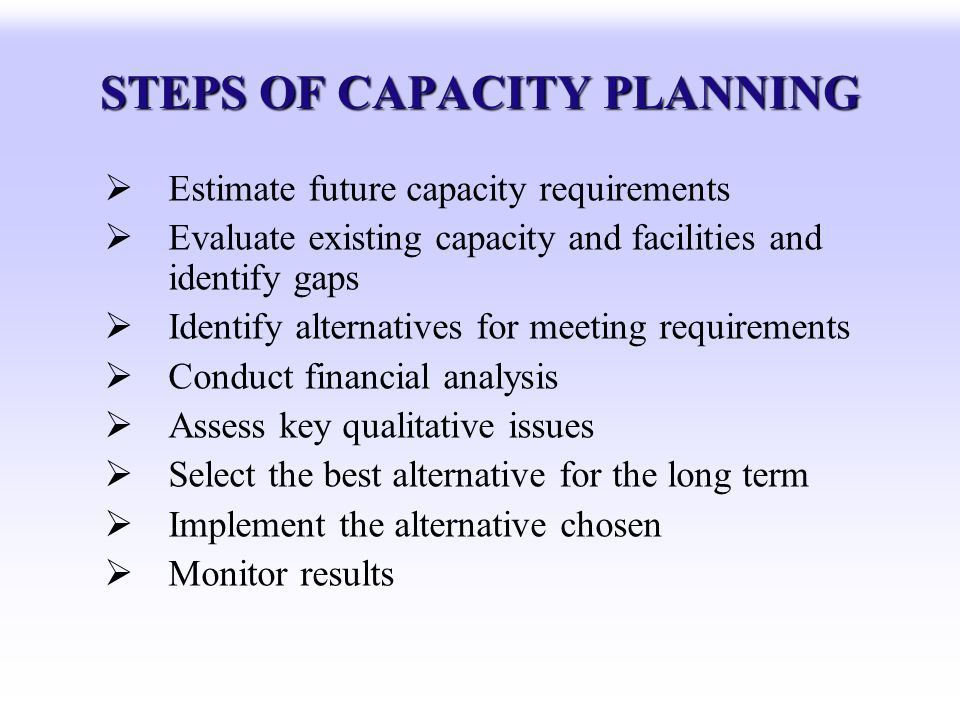 STEPS OF CAPACITY PLANNING