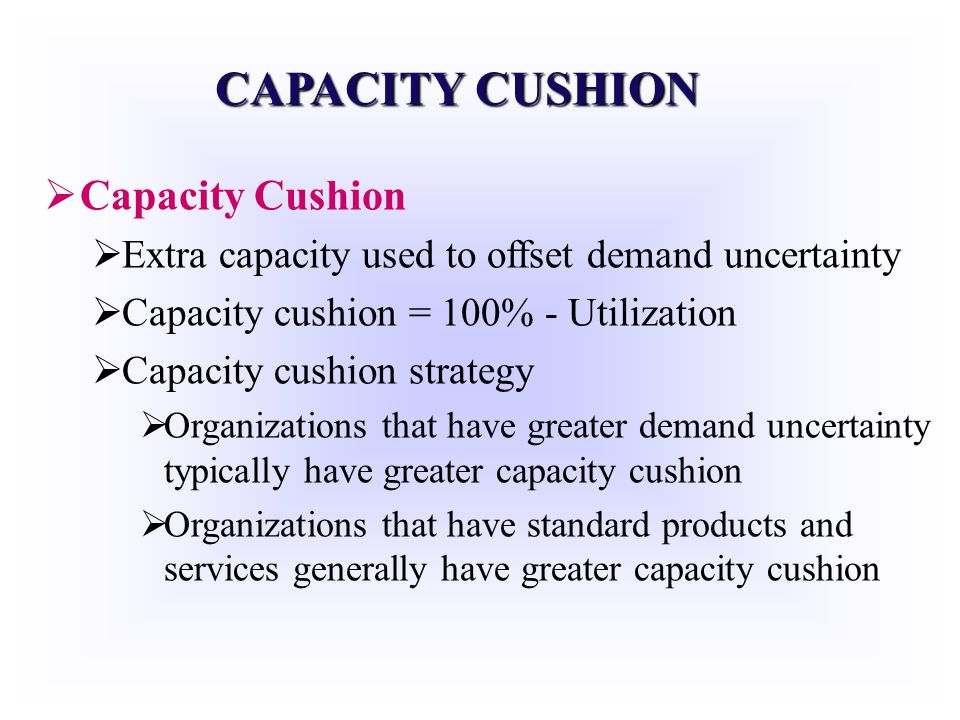 CAPACITY CUSHION Capacity Cushion