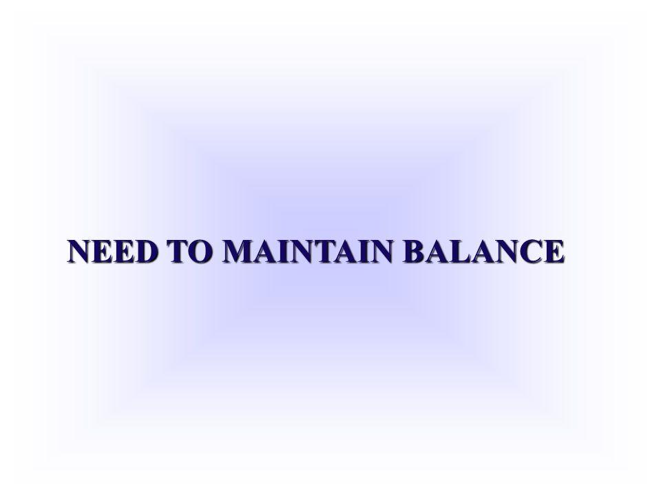 NEED TO MAINTAIN BALANCE