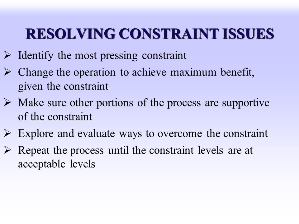 RESOLVING CONSTRAINT ISSUES