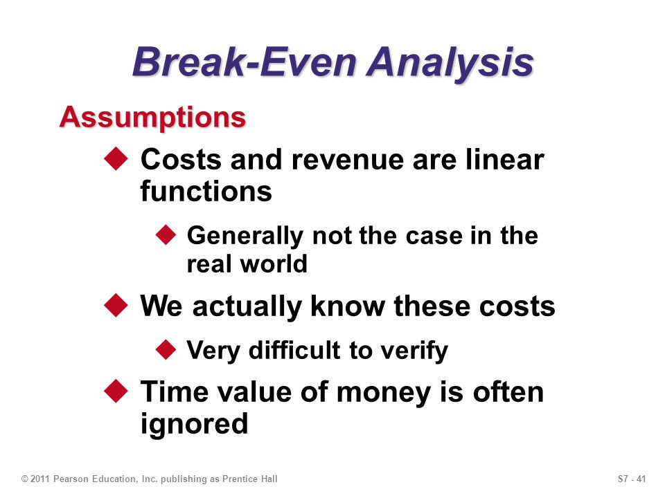 Break-Even Analysis Assumptions Costs and revenue are linear functions
