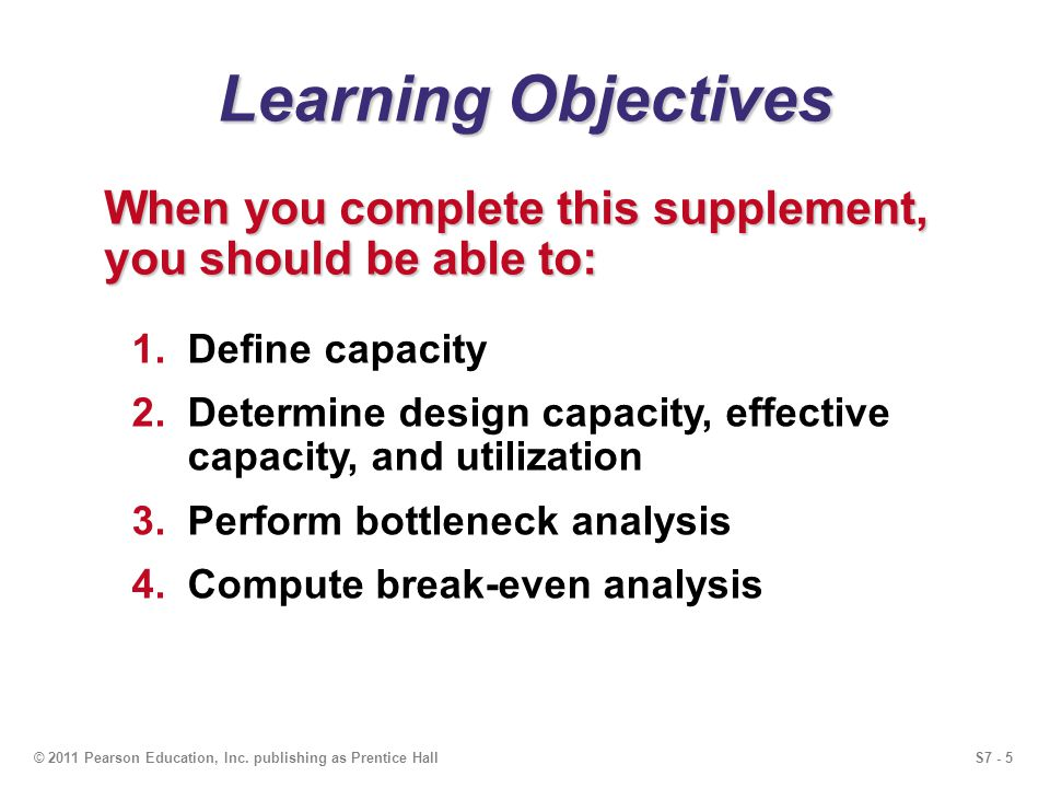 Learning Objectives When you complete this supplement, you should be able to: Define capacity.