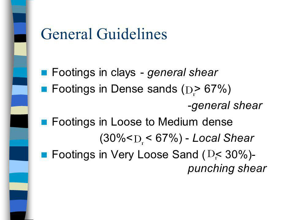 General Guidelines Footings in clays - general shear