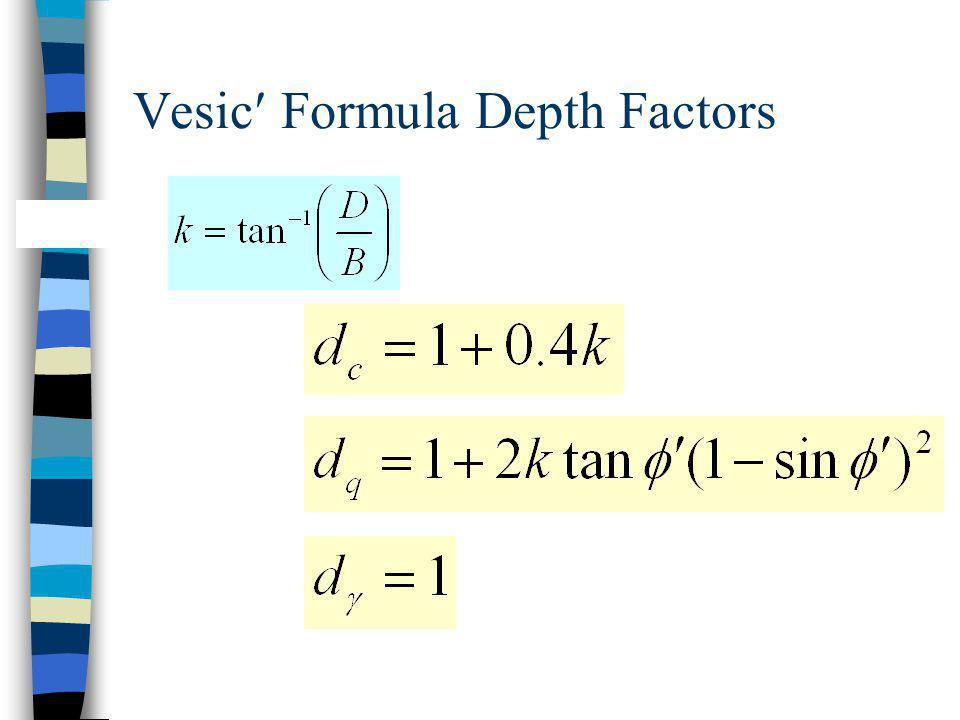Vesic Formula Depth Factors