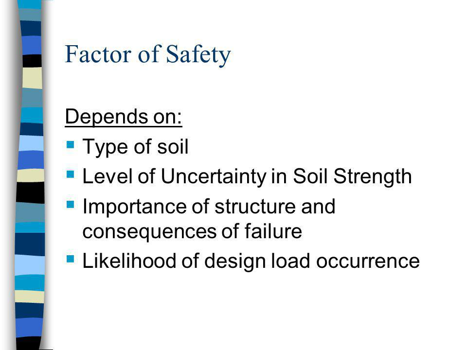 Factor of Safety Depends on: Type of soil
