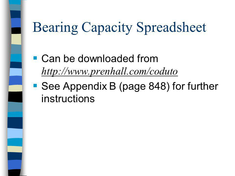 Bearing Capacity Spreadsheet