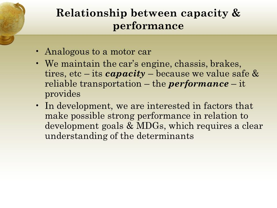 Relationship between capacity & performance
