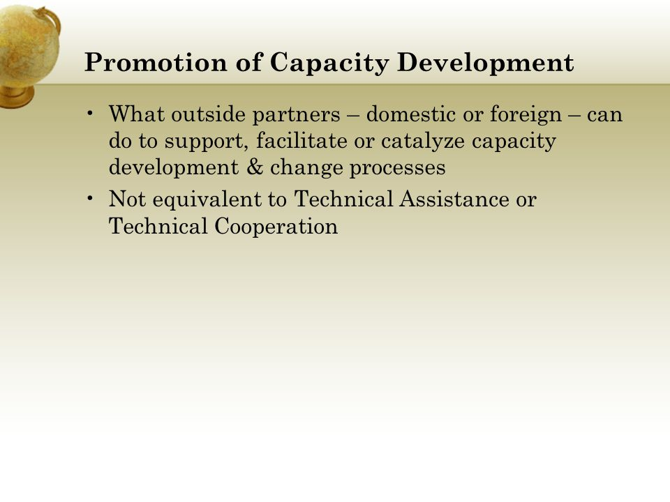 Promotion of Capacity Development
