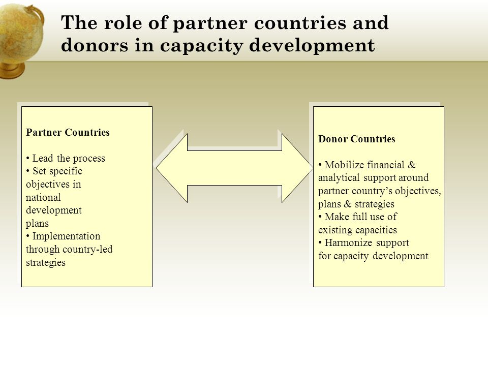 The role of partner countries and donors in capacity development