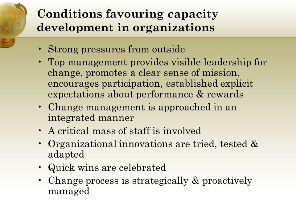 Conditions favouring capacity development in organizations