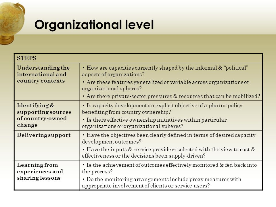 Organizational level STEPS