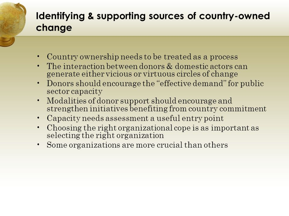 Identifying & supporting sources of country-owned change