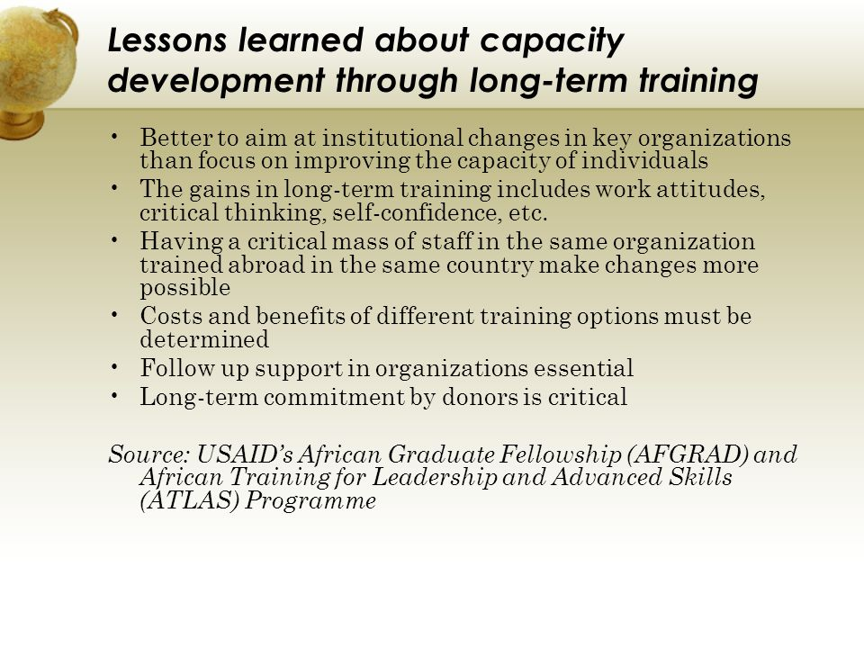 Lessons learned about capacity development through long-term training