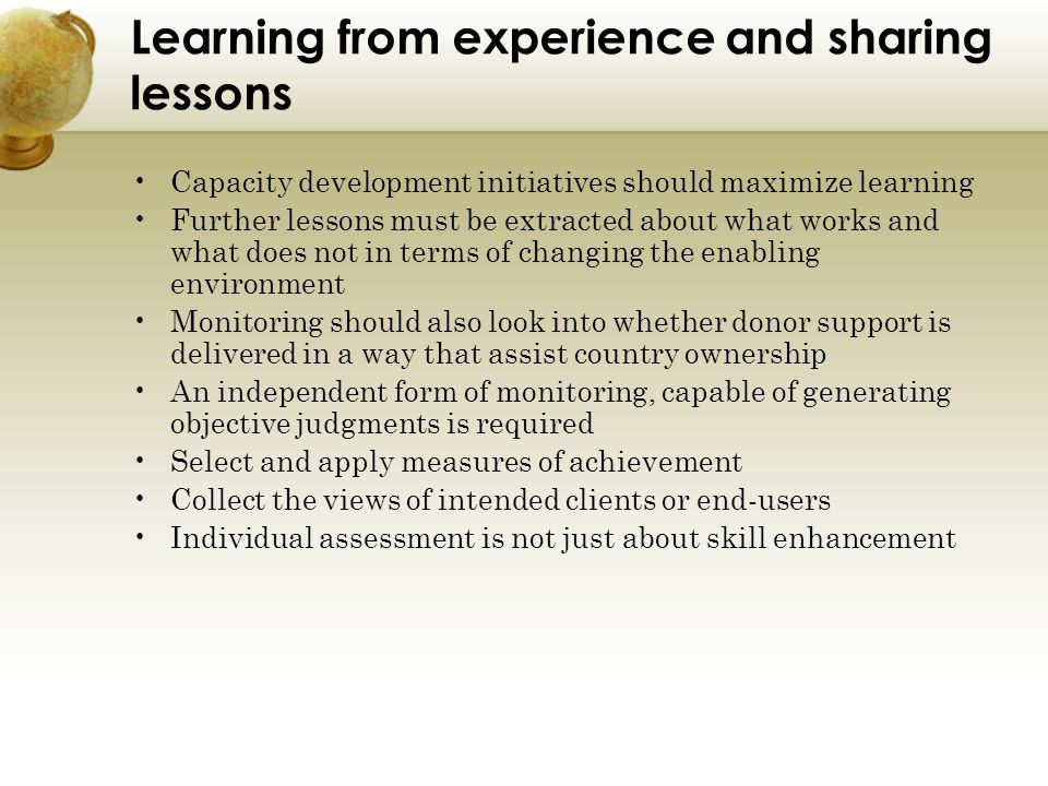 Learning from experience and sharing lessons