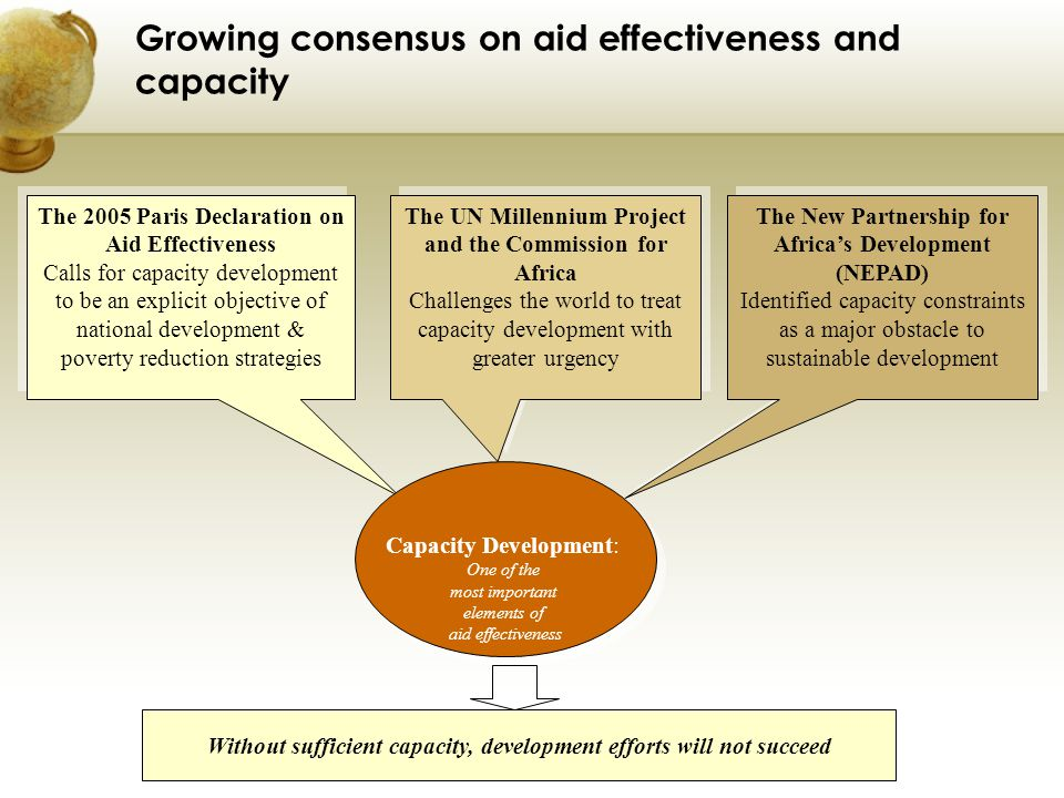 Growing consensus on aid effectiveness and capacity
