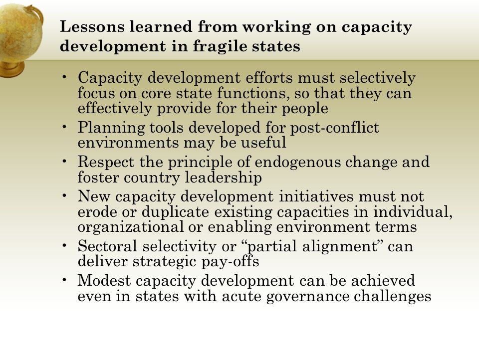 Lessons learned from working on capacity development in fragile states