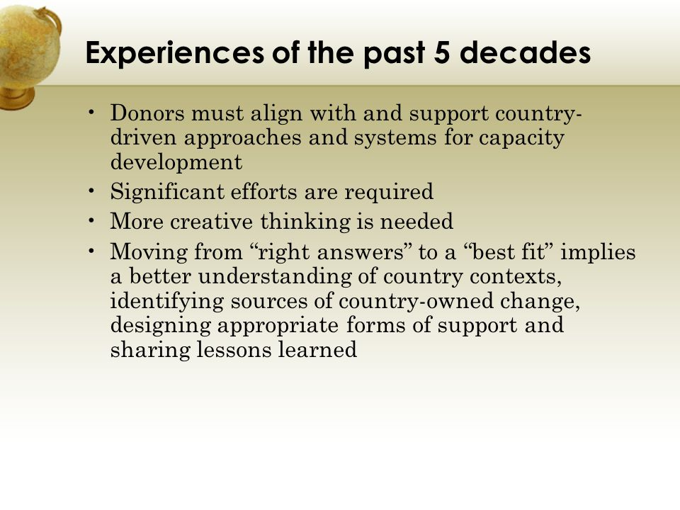 Experiences of the past 5 decades